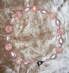 "BLUSH -  Baroque pearls and peach plastics. Hand-chained. 17"" Silver-plated pewter toggle clasp. $88"