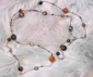 "EARTH - Victorian steel microbeads with various venetian, crystal, pearl and plastics. 48"" Brown and grey palette. $188"