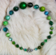 "SYLVAN - Rich greens and blues, some vintage beads. 17"" Hand-chained. Silver-plated pewter toggle clasp. OOAK $84"