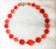 "SUMMER ROSES - Red-oranges, some vintage beads Hand-chained. 16.5"" Silver-plated pewter toggle clasp. OOAK $78"