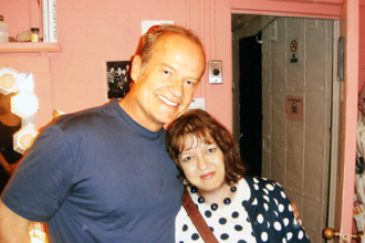 Kelsey Grammer, the star of the show and me. I am wearing my Night Princess. La Cage aux Folles, Longacre Theatre, June 2010.