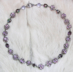 "VIOLET PRINCESS-  Lilac pearls and silver-plated pewter. 16"" Swarovski crystal, set into silver-plate. Hand chained. Sterling toggle clasp. $228"