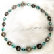 "NAVAHO -Turquoise mirror beads and silver beads. 18""  Hand-chained. Silver-plated pewter toggle clasp. OOAK $88"