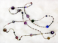 "PASSIONATA - inches Victorian brass microbeads with various venetian, glass, plastics. 48"" Purple and cobalt palette. $188"