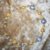"YELLOW GREY LACE - Lacy beads imported from Italy. 17"" Gold-plated pewter toggle clasp. $78"